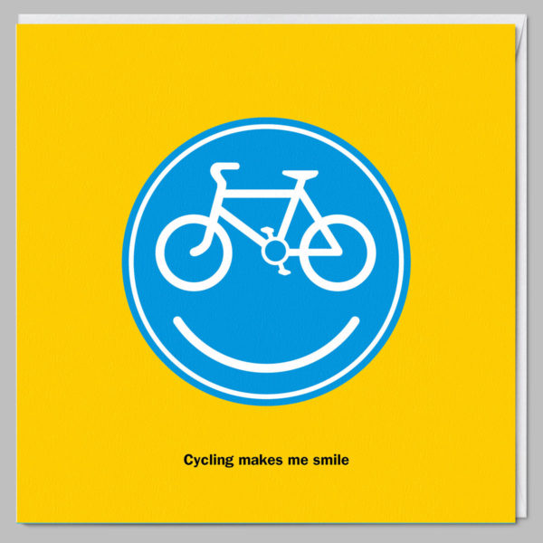 product square card cycling makes me smile a